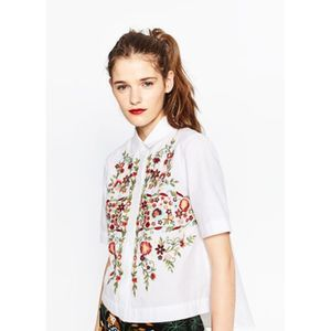 NWT Zara Embroidered Floral Button Down
